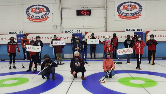RA Youth curlers and their coaches celebrate Curling Day in Canada, February 27, 2021